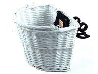 Koszyk rowerowy na klip - wiklinowy - biały