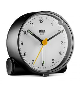 Braun BC01BW Budzik na baterię, podświetlenie, alarm, drzemka, płynący mechanizm, szerokość 7 cm