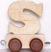 Wagonik z literką S - LITERKA element z układanki ALFABET POCIĄG