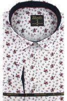 Koszula Męska Enrico Polo biała w kwiaty z długim rękawem w kroju SLIM FIT A537 XL 43 182/188
