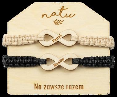 Bransoletki dla pary grawer ZNAK NIESKOŃCZONOŚCI NATU