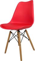 Skandynawskie krzesło KRIS FIORD z krzyżakiem czerwone BUKOWE NOGI