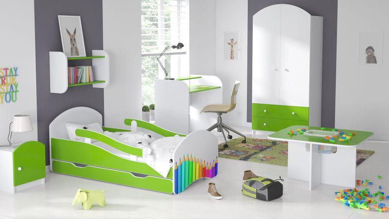 Łóżko dziecięce 140x70 biało-zielone/limonkowe materac gratis zdjęcie 16