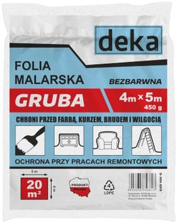 FOLIA MALARSKA SUPER GRUBA BEZBARWNA 4*5M 450G uni