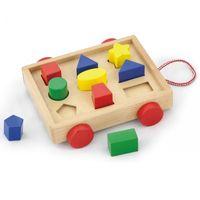 Drewniany Wózek Z Klockami I Sorterem Viga Toys