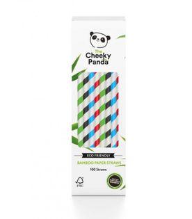 Jednorazowe słomki do napojów z papieru bambusowego MIX KOLORÓW 100 szt. The Cheeky Panda