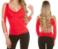 Czerwona bluzka z cyrkoniami S/36