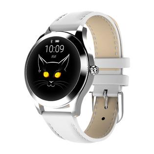 Smartwatch Damski Stylowy biały skórzany pasek