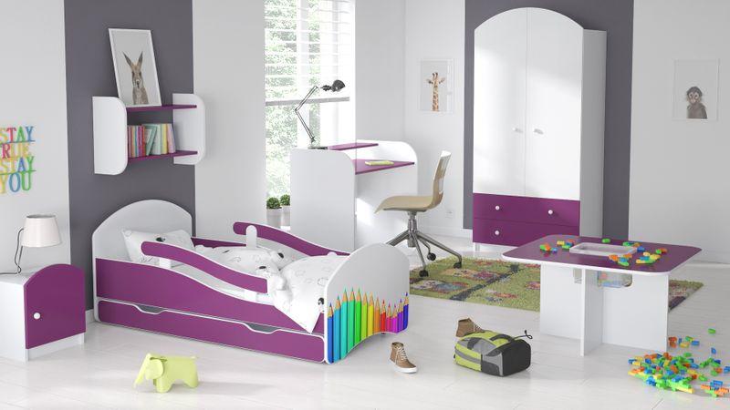 Łóżko dziecięce łóżeczko 140x70 biały / fiolet szuflada materac zdjęcie 16