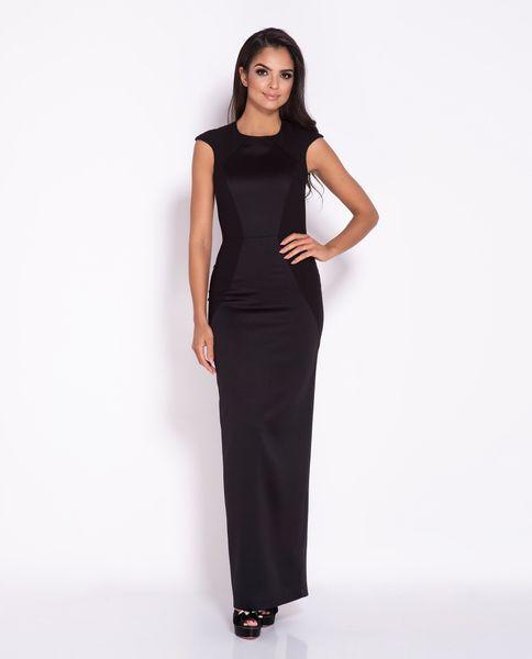dace16fd17 Długa sukienka MAXI z przetłoczeniami Miron czarny Rozmiar - L zdjęcie 1