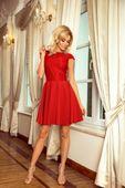 Rozkloszowana sukienka z koronką - Czerwony XL
