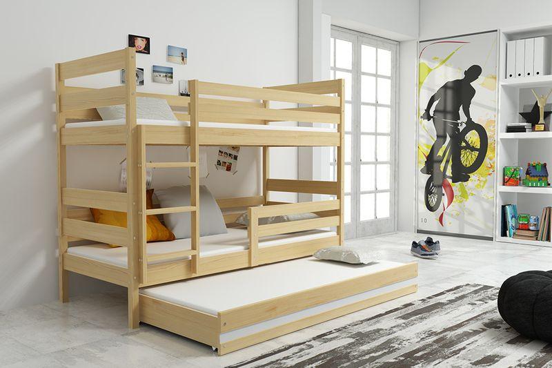 łóżko Piętrowe Dla Dzieci Eryk 160x80 Dziecięce 3 Osobowe Materace