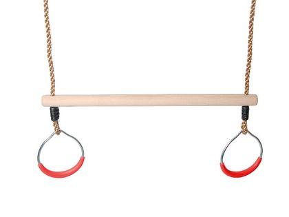 Trapez z metalowymi obręczami na plac zabaw