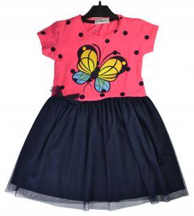 Sukienka Motyl róż, bawełna roz.128