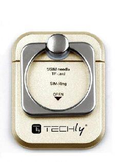 Uchwyt do smartphone Techly RING HOLDER Gold I-SMART-RINGG