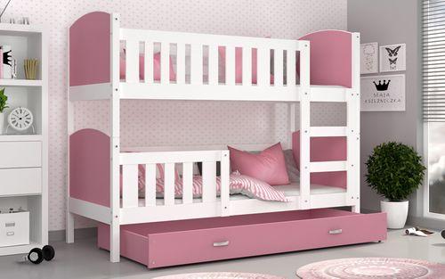 Łóżko piętrowe TAMI COLOR 190x80 szuflada + materace na Arena.pl