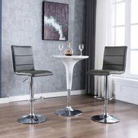 Krzesła barowe, 2 szt., szare, sztuczna skóra