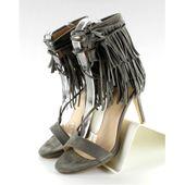 Sandałki na obcasie z frędzlami 8125 Grey r.36 zdjęcie 3