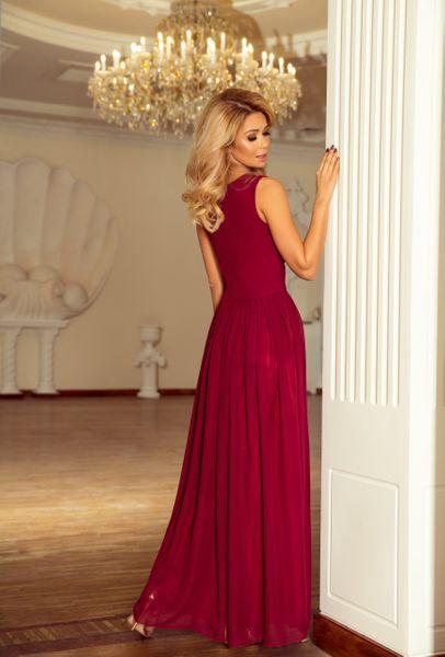 Sukienka Maxi Na Przyjęcie Wesele Bal Bordowa Na Ramiączka 166-3 L 40 zdjęcie 6