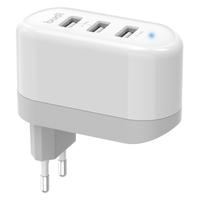 Ładowarka sieciowa 3x USB, 24W, składana wtyczka (Biały)