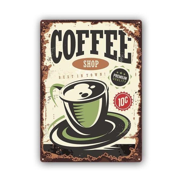 Wydruk na metalu, Retro – kawa coffee shop 40x60 zdjęcie 1
