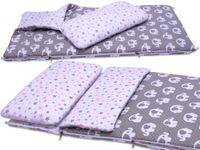 ŚPIWOREK do przedszkola pościel BOBO bawełna szary w słonie i gwiazdki