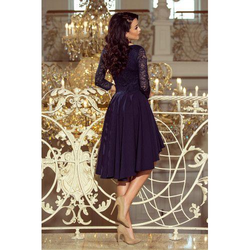 b41cfb3b2d NICOLLE - sukienka z dłuższym tyłem z koronkowym dekoltem - GRANATOWA  zdjęcie 9