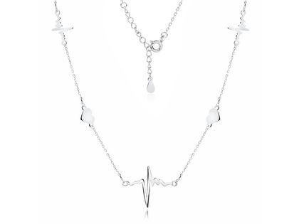 Delikatny rodowany srebrny naszyjnik gwiazd choker celebrytka serca linia życia tętno puls srebro 925 Z1821NR