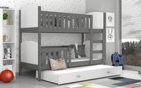 Łóżko piętrowe TAMI 3 osobowe COLOR  198x86 szuflada + materace