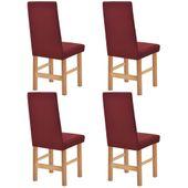 Elastyczne pokrowce na krzesła, pikowane, 4 szt., burgundowe