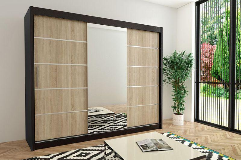Szafa przesuwna garderoba Verona 2-250 z lustrem biała wenge sonoma zdjęcie 10