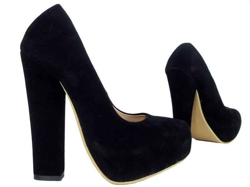 Czarne szpilki na słupku buty zamszowe 37 zdjęcie 3