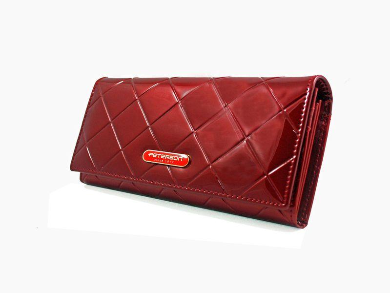 Duży czerwony portfel damski, lakierowany, pikowany, RFID, Peterson zdjęcie 1