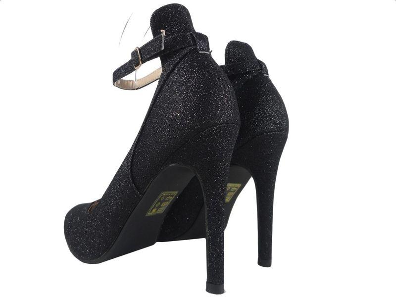 Buty czarne szpilki z paskiem brokatowe 41