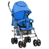 Wózek spacerowy składany 2w1 niebieski stal VidaXL