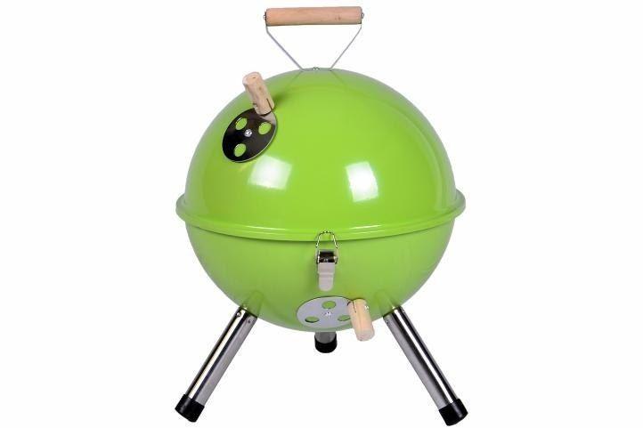 Grill ogrodowy węglowy okrągły, mini grill bbq kolor zielony zdjęcie 1