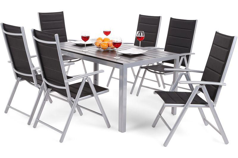 Meble ogrodowe aluminiowe Ibiza Silver / Black 6+1 zdjęcie 11