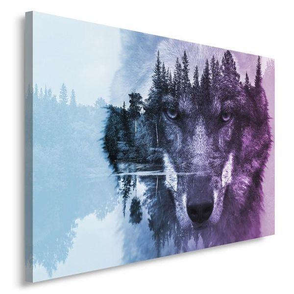Obraz na płótnie - Canvas, Wilk na tle lasu - fioletowy nowoczesny 70x50 zdjęcie 2
