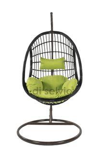 Fotel wiszący ze stojakiem czarno/zielony Bozzollo