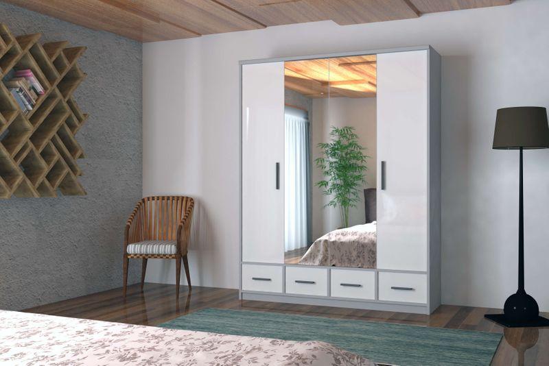 Szafa garderoba przesuwna 250 cm połysk półki szuflady lustro zdjęcie 3