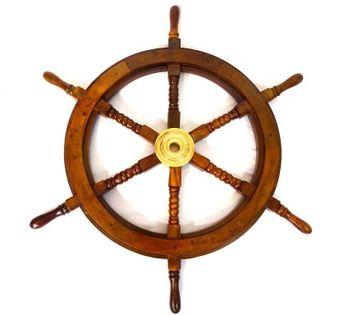 Drewniane koło sterowe - SW2/30' wkład mosiężny z miejscem na klin - śr. 75cm