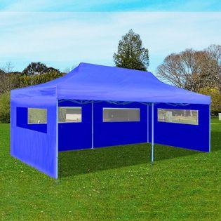 Niebieski namiot imprezowy, rozkładany, 3x6m