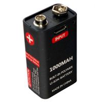 Akumulator bateria 9V 1000mah USB 6LR61 6F22 6AM6 MN1604 Block MN1604