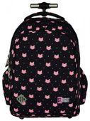 Plecak szkolny młodzieżowy na kółkach ST.RIGHT czarny w różowe kotki, MEOW TB1 (17270)