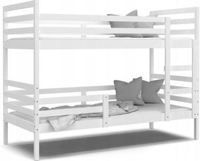 Łóżko piętrowe JACEK 190x80 + materace - biel