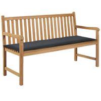 Poduszka na ławkę ogrodową, 150x50x3 cm, szara