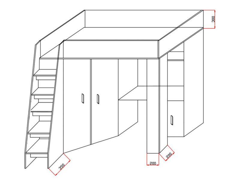 Łóżko piętrowe FIGO antresola szafki zestaw RIBES zdjęcie 12