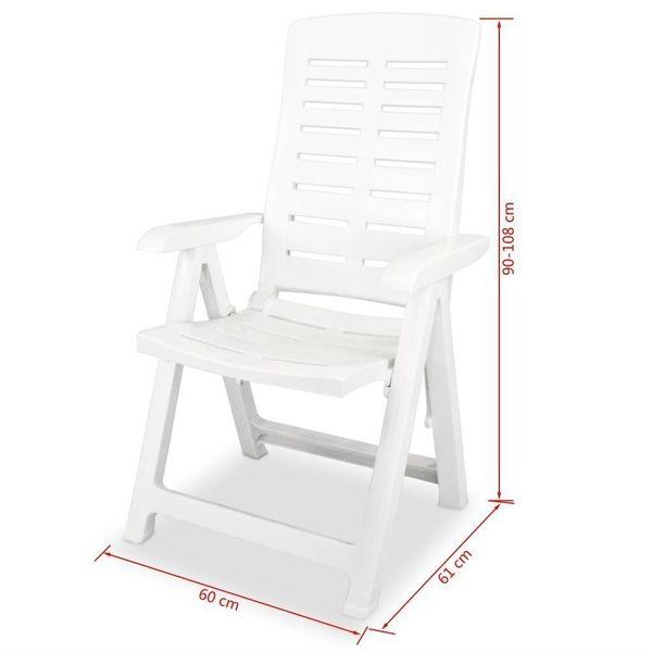 Krzesło Krzesła Ogrodowe Rozkładane 2 Sztuki Białe 60x61x108