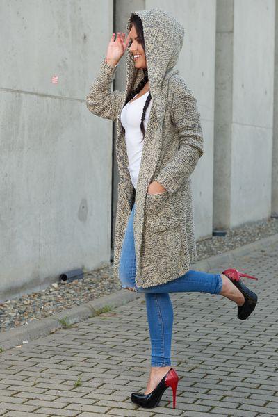 Mięciutki otulający Kardigan sweter melanż 103 zdjęcie 9