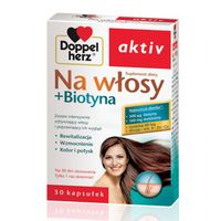 Doppelherz Aktiv Na włosy + Biotyna, 30 kapsułek - Długi termin ważności!
